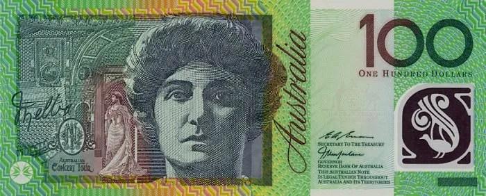 Dame Nellie Melba on the 100 dollar bill