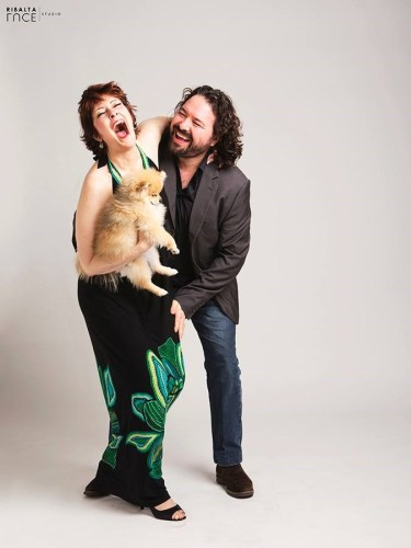 Jennifer Larmore with her dog Buffy and husband Davide - photo by RibaltaLuce Studio