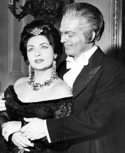 Virginia Zeani with Peter Glossop during performances of La Traviata at The Royal Opera House, 1962