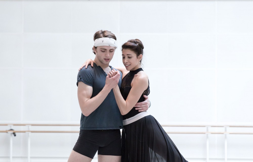 Yasmine Naghdi and Matthew Ball rehearsing Romeo and Juliet, Rehearsal - photo by Andrej Uspenski © ROH, 2015-01