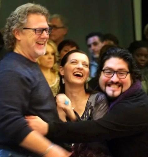 Nicola Alaimo with colleagues Gregory Kunde and Patrizia Ciofi during Luisa Miller at Opéra Royal de Wallonie, 2014