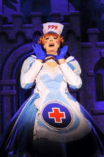 David Ashley as Nurse Nelly in the current run of Snow White at the Wyvern Theatre, Swindon