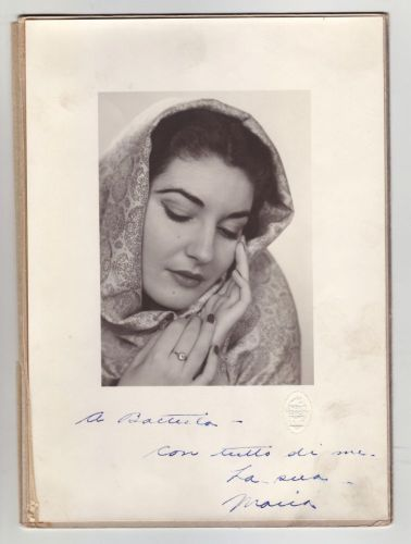 Portrait of Maria Callas with an inscription to Giovanni Battista Meneghini, 1947