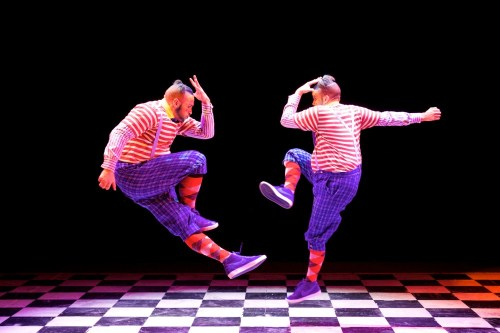The Mad Hatter's Tea Party. Rowen Hawkins and Ross Sands as Tweedle Dum and Tweedle Dee - ©ROH 2014, photographed by Alice Pennefather