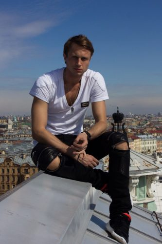 Andrey on the roof of the Mariinsky Theatre - photo by E. Miroshnikova, 2015