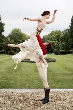 Lauren Cuthbertson (in a silk, chiffon and Swarovski crystal dress) with Marcelino Sambé for the Royal Ballet shoot for Town and Country