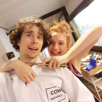István with Sarah Hay joking around in the costume of COW by Alexander Ekman