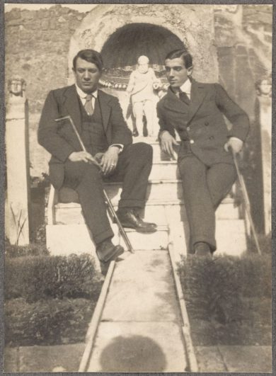 Pablo Picasso and Leonid Massine photographed by Jean Cocteau at Pompeii