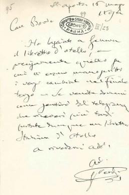 Letter from Verdi to Boito on 15 May 1894 © Istituto Nazionale di Studi Verdiani