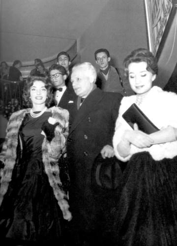 Maria Callas, La Scala's Intendant Antonio Ghiringhelli, and Giovanna Lomazzi leaving the premiere of La Dolce Vita in Milan, 1960