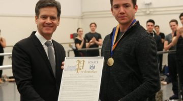 ABT dancer who hauled a homeless man off the subway tracks is awarded the New York State Liberty Medal