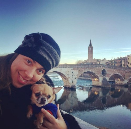 Maria José Siri with her dog Victor in Verona