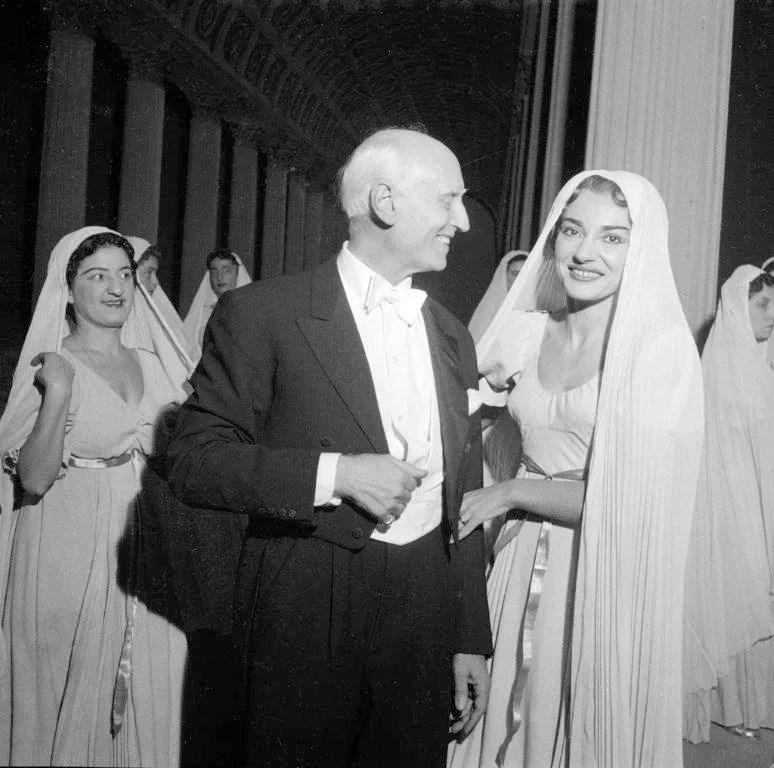 Victor de Sabata with Maria Callas after La vestale, 1954 conducted by Antonino Votto