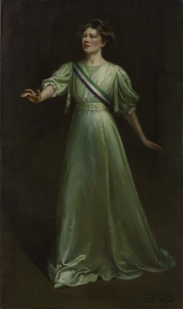 Dame Christabel Pankhurst by Ethel Wright,1908–9 © National Portrait Gallery, London