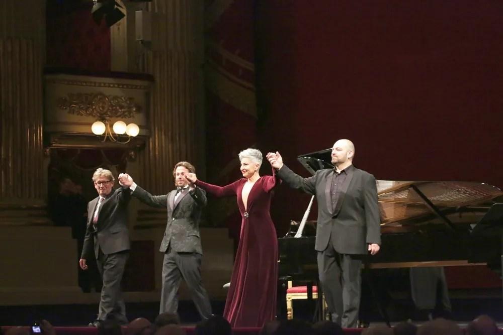 from left, James Vaughan, Markus Werba, Eva Mei and Giorgio Berrugi   © Brescia e Amisano, Teatro alla Scala 2018