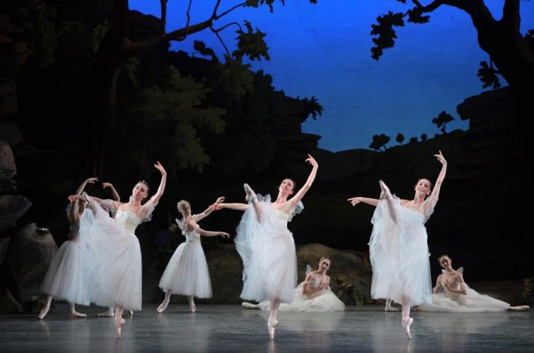 English National Ballet dancers Julia Conway, Alice Bellini and Georgia Bould in La Sylphide © Laurent Liotardo