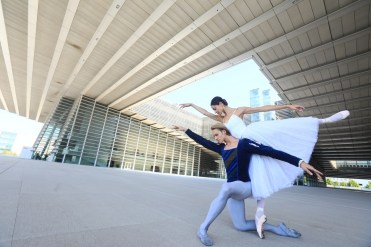 La Scala in Tianjin - Nicoletta Manni and Timofej Anrdijashenko in front of the Grand Theatre, photo by Chao Duan