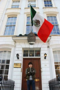 Outside the Mexican Embassy in London