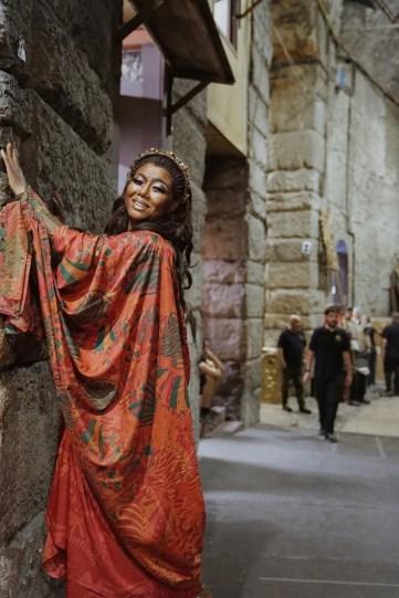 Hui He as Aida at Verona Arena with costume by Anna Anni