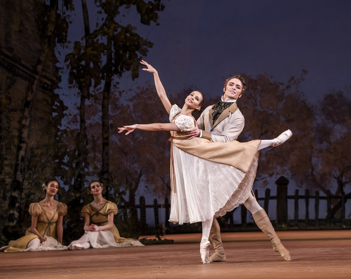 Onegin with Francesca Hayward as Olga and Matthew Ball as Lensky © ROH, 2020. Photographed by Tristram Kenton