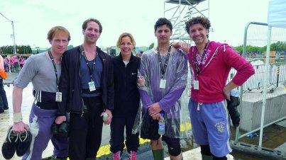 Darcey Bussell rehearsing for the London Olympics with Edward Watson, Nehemiah Kish, Jonathan Cope and Gary Avis