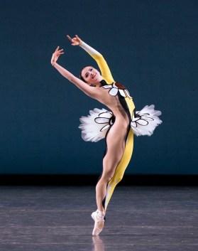 Indiana Woodward of New York City Ballet in Justin Peck's Pulcinella Variations, photo by Paul Kolnik