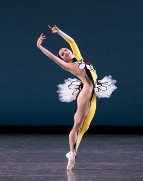 Indiana Woodward of New York City Ballet in Justin Peck's Pulcinella Variations, photo by Paul Kolnik