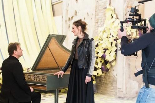 Ottavio Dantone and Delphine Galou during the 'Making of' video of Agitata
