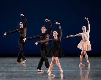 Sebastian Villarini Velez, Ethan Fuller, Rachel Hutsell, and Jacqueline Bologna in Gianna Reisen's Composer's Holiday, photo by Paul Kolnik