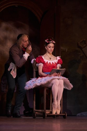 Gary Avis as Dr Coppélius and Marianela Nuñez as Swanilda in Coppélia, The Royal Ballet ©2019 ROH. Photograph by Bill Cooper