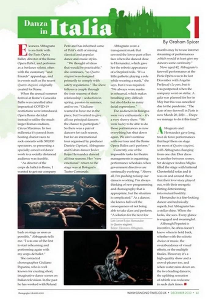 Danza in Italia, Dancing Times, December 2020
