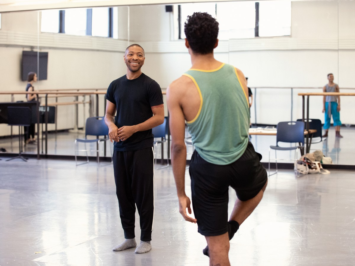 Kyle Abraham rehearsing with New York City Ballet in 2018. Photo by Erin Baiano