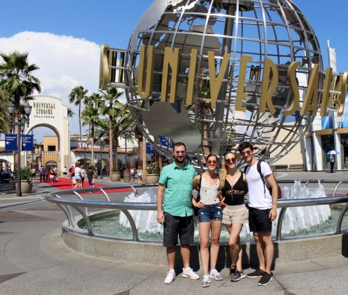 At Universal Studios, Los Angeles, with friends