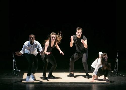 Lil Buck, Michelle Dorrance, Robert Fairchild, and Melissa Toogood perform 1-2-3-4-5-6, photo by Erin Baiano 2016