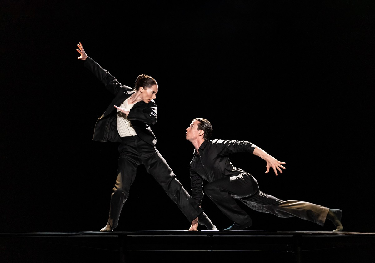 Kristen McNally and Calvin Richardson in The Statement, The Royal Ballet ©2021 ROH. Photograph by Bill Cooper