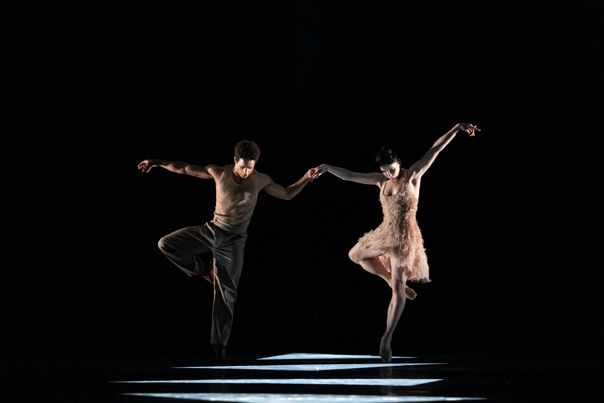 Marcelino Sambé and Natalia Osipova in the new work by Kyle Abraham, The Royal Ballet ©2021 ROH. Photograph by Bill Cooper