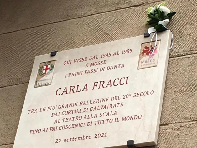 Plaque for Carla Fracci