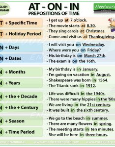 At on in prepositions of time english also grammar notes preposiciones rh