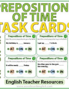 Prepositions of time powerpoint presentation english task cards also at on in grammar notes preposiciones rh