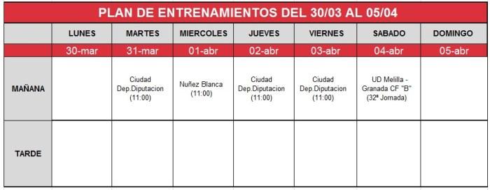 plan-entrenamiento-30-marzo-05-abril Granada CF B