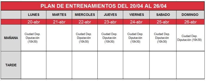 plan-entrenamiento-20-26-abril Granada CF