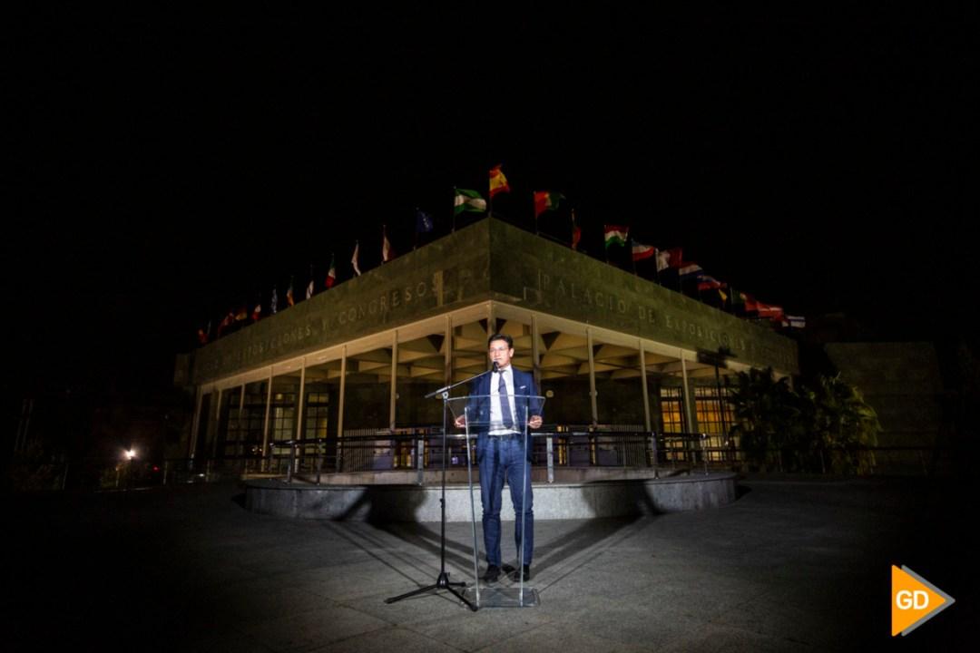 Encendido del alumbrado del palacio de congresos de Granada