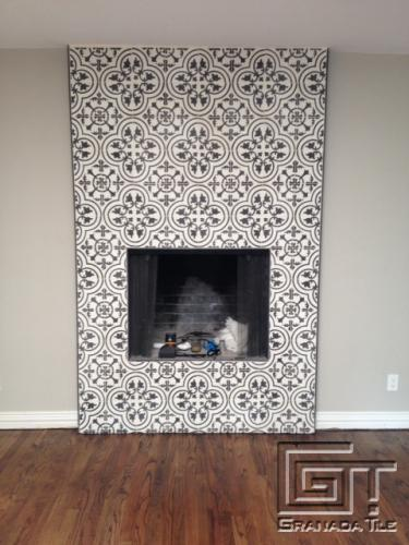 cluny cement tiles for a chic fireplace