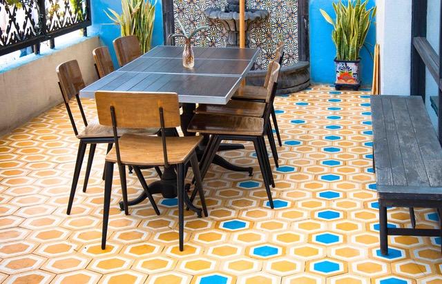 hexagon cement tiles spell success at