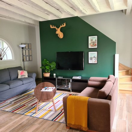 La Maison de Célestin, salon lumineux avec 2 canapés face à face, table en noyer ovale, tapis en coton coloré, trophée en bois