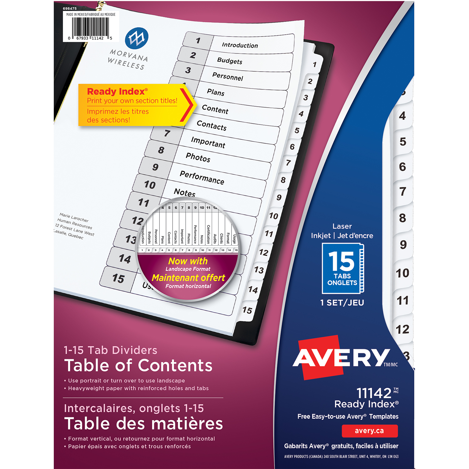 Avery Ready Index Customizable Table Of Contents Dividers
