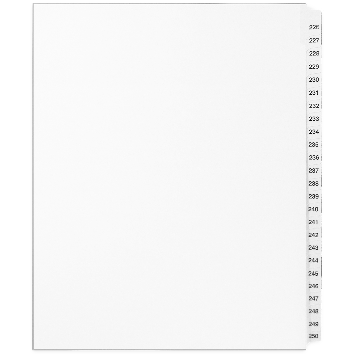 Mark Maker White Legal Index Tabs 226 250 1 25th Cut