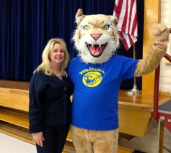 Cindy with the Whittier Wildcat