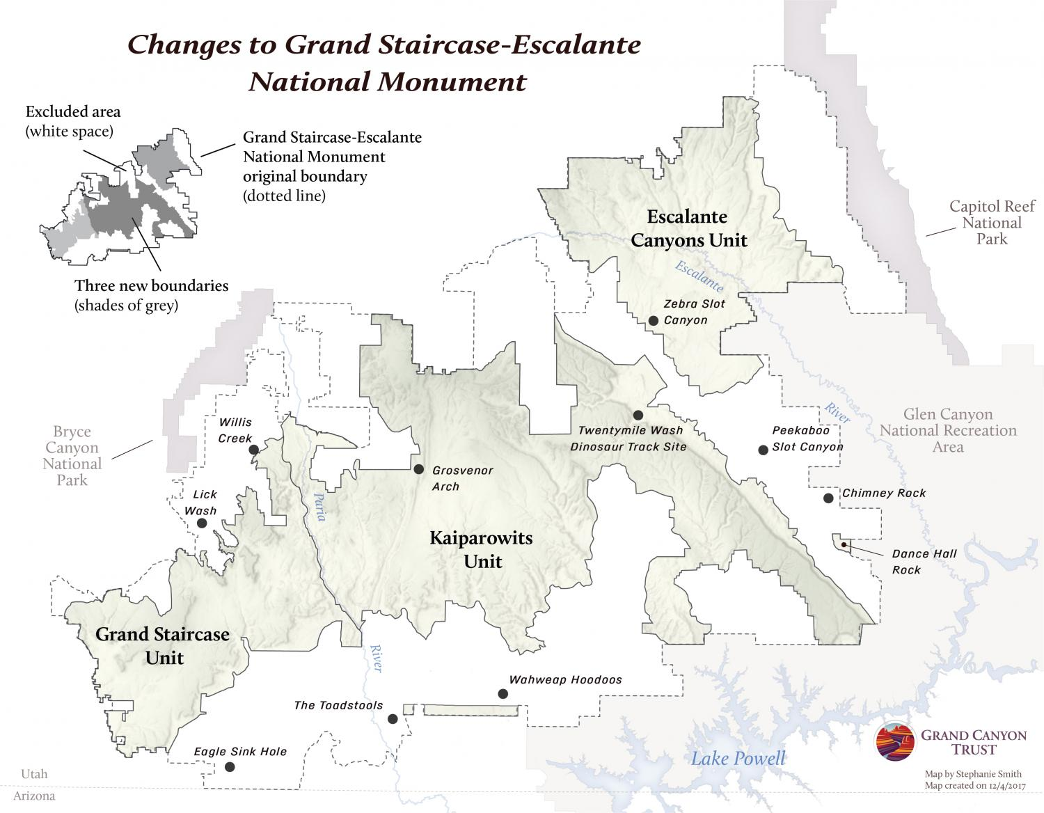 Changes To Grand Staircase Escalante National Monument Map