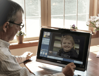 Easy to use video calling technology in a home monitoring system for seniors
